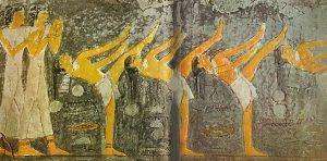 Dança acrobática, relevo da tumba de Mehu, 2500 a.C., Sacara.