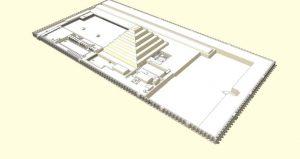 Reconstituição do complexo funerário de Djoser com a Pirâmide de Degraus ao centro.